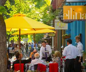 Dining Al Fresco in the summer time at Ellina Restaurant + Bar.